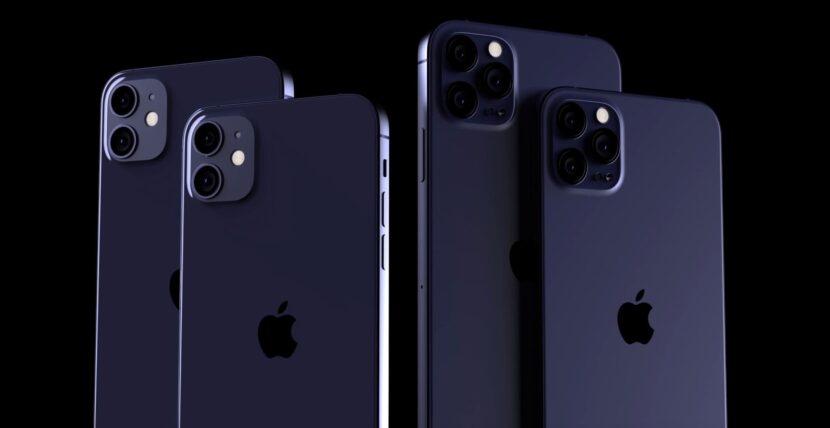 Четыре темно-синих айфона на черном фоне