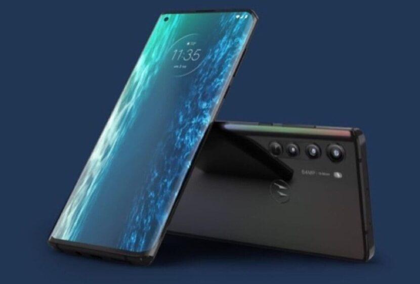 два смартфона на синем фоне