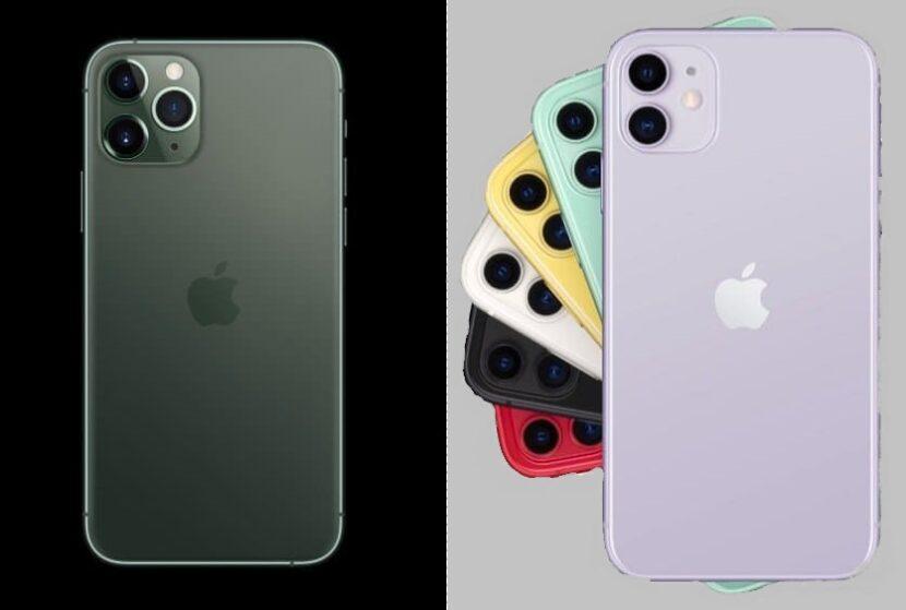 семь смартфонов на черном и сером фоне