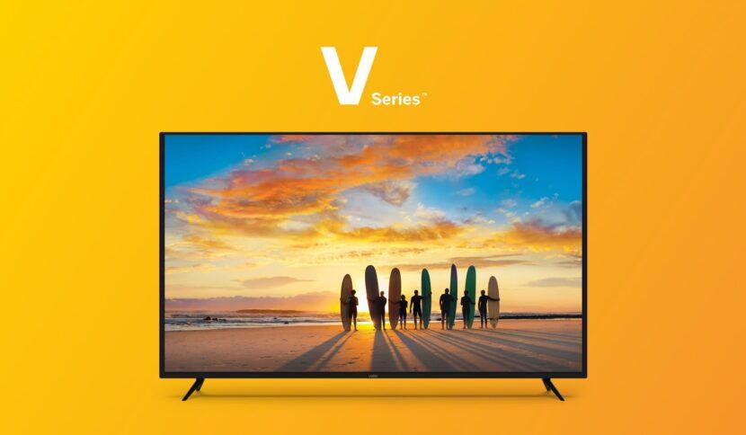 на оранжевом фоне телевизор Vizio V-Series 50